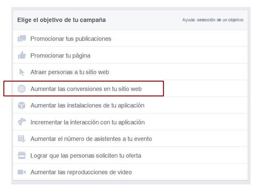 Objetivos conversiones Facebook Ads