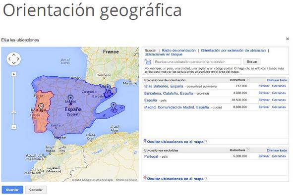 orientacion geografica Google adwords