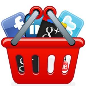 Icono de un carrito de compra con iconos de redes sociales dentro