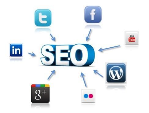 Iconos de redes sociales con flechas apuntando a la palabra SEO