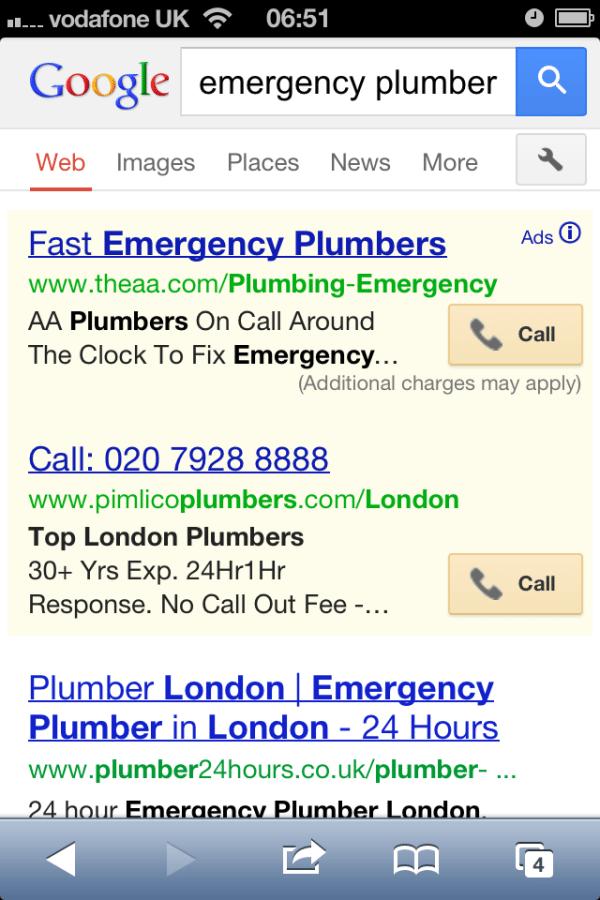 Apariencia de una llamada en los anuncios de Google Adwords