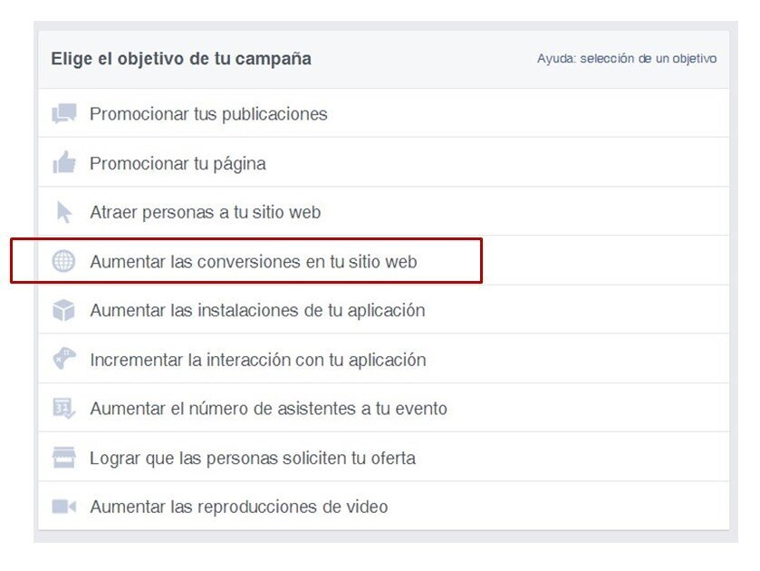 Objetivos conversiones Facebook Ads