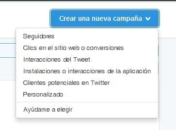 cómo crear una nueva campaña de Twitter ads