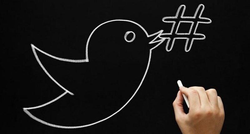 Logotipo twitter y hashtag