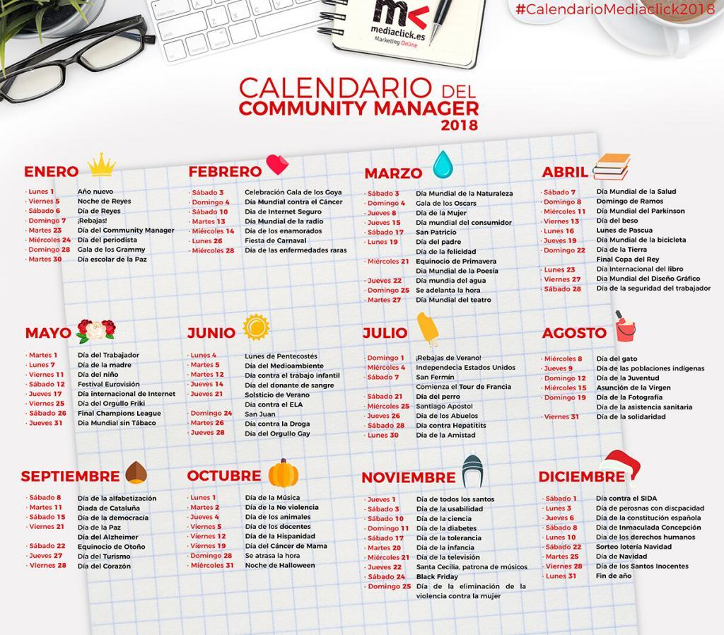 Calendario del Community Manager 2018
